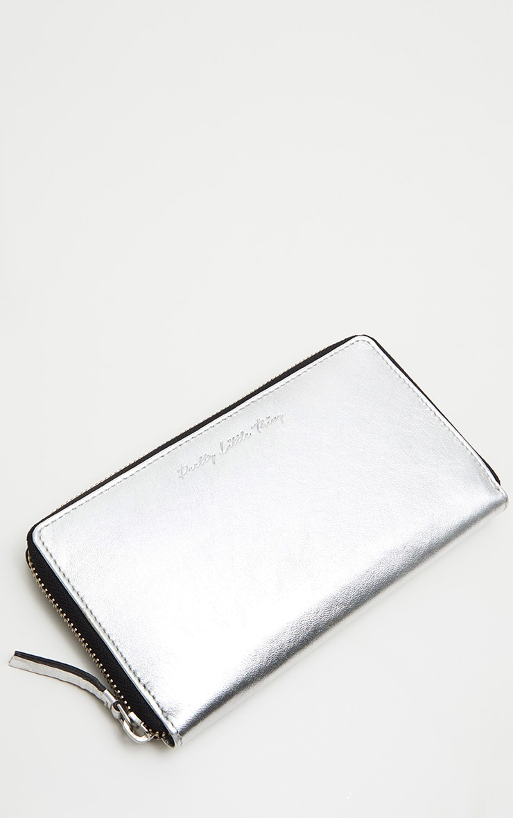 Silver Real Leather Purse