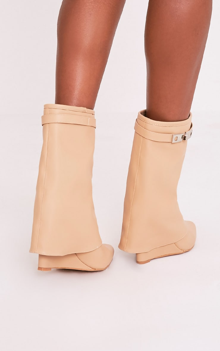 Daniela Nude PU Concealed Heel Ankle Boots 2
