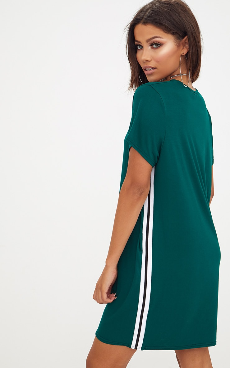 Forest green sports stripe t shirt dress prettylittlething for Sporty t shirt dress