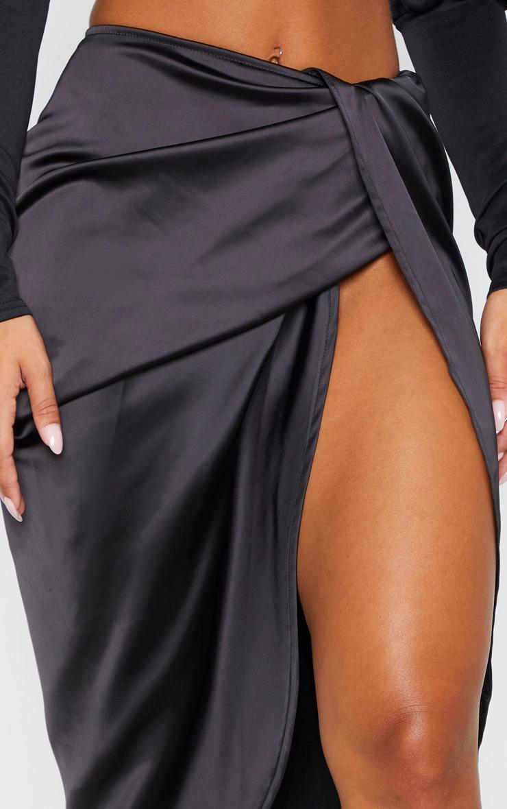 Black Satin Twist Front Midi Skirt 5