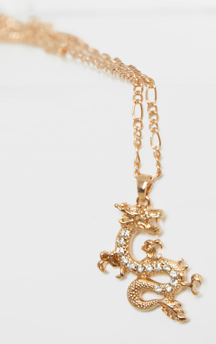 Gold Triple Layering Diamante Dragon Necklace 4