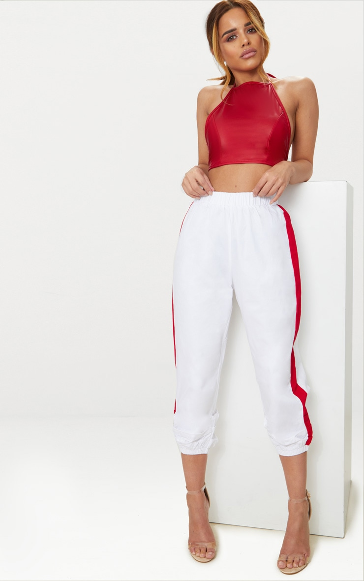 Petite Red PU Halterneck Crop Top 4