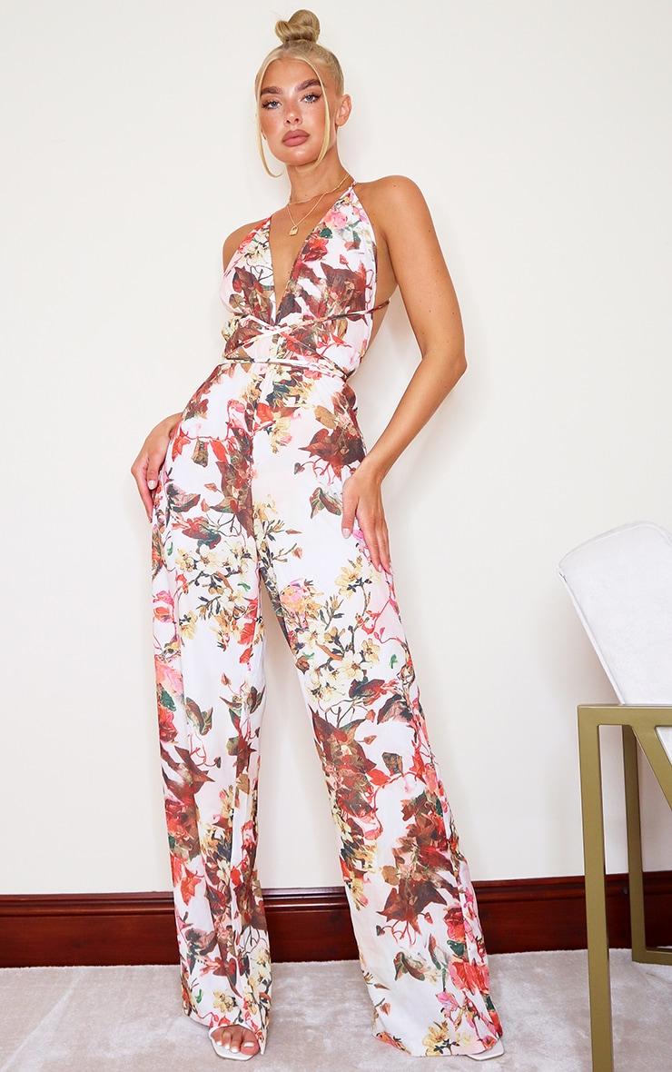 Multi Floral Print Halterneck Wide Leg Jumpsuit image 1