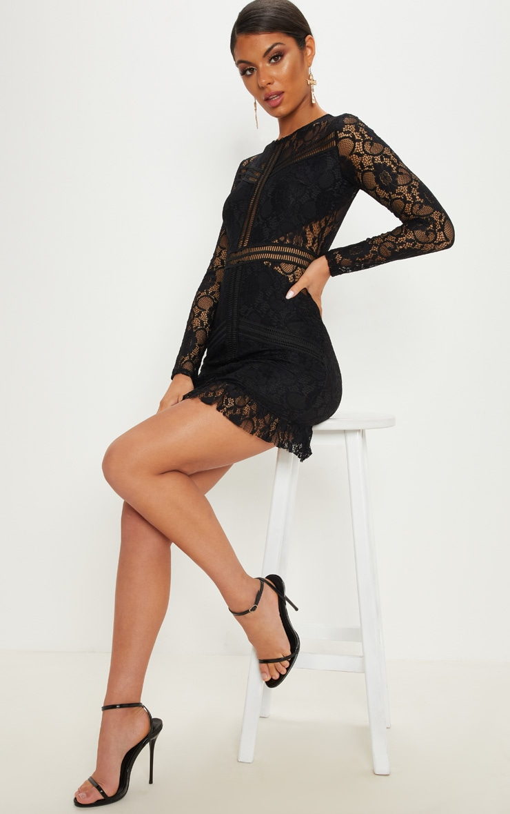 Black Lace Ladder Detail Frill Hem Bodycon Dress 4