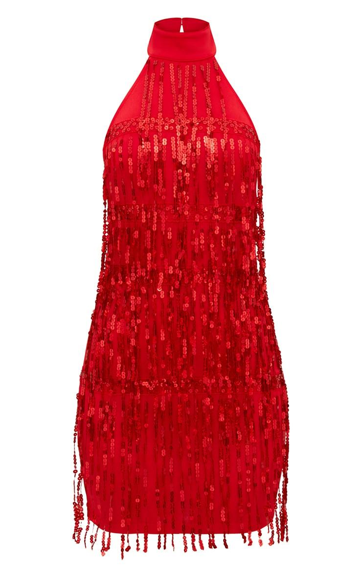 Red Tassel Sequin Bodycon Dress 3