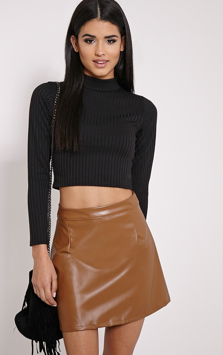 Candis Black Ribbed Knitted Polo Neck Top 1