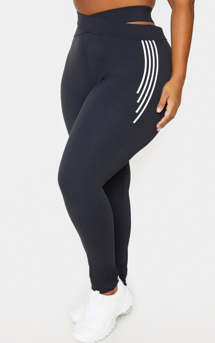 PRETTYLITTLETHING Plus Black Cross Waist Stripe Detail Gym Legging 2