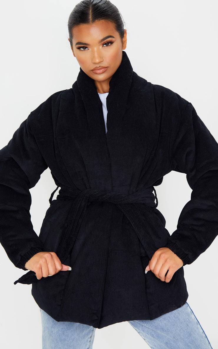 Black Cord Collar Tie Waist Puffer Jacket 4