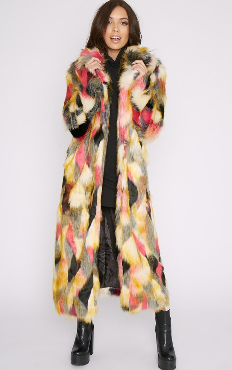 Mirabelle Multi-Coloured Longline Faux Fur Coat 1