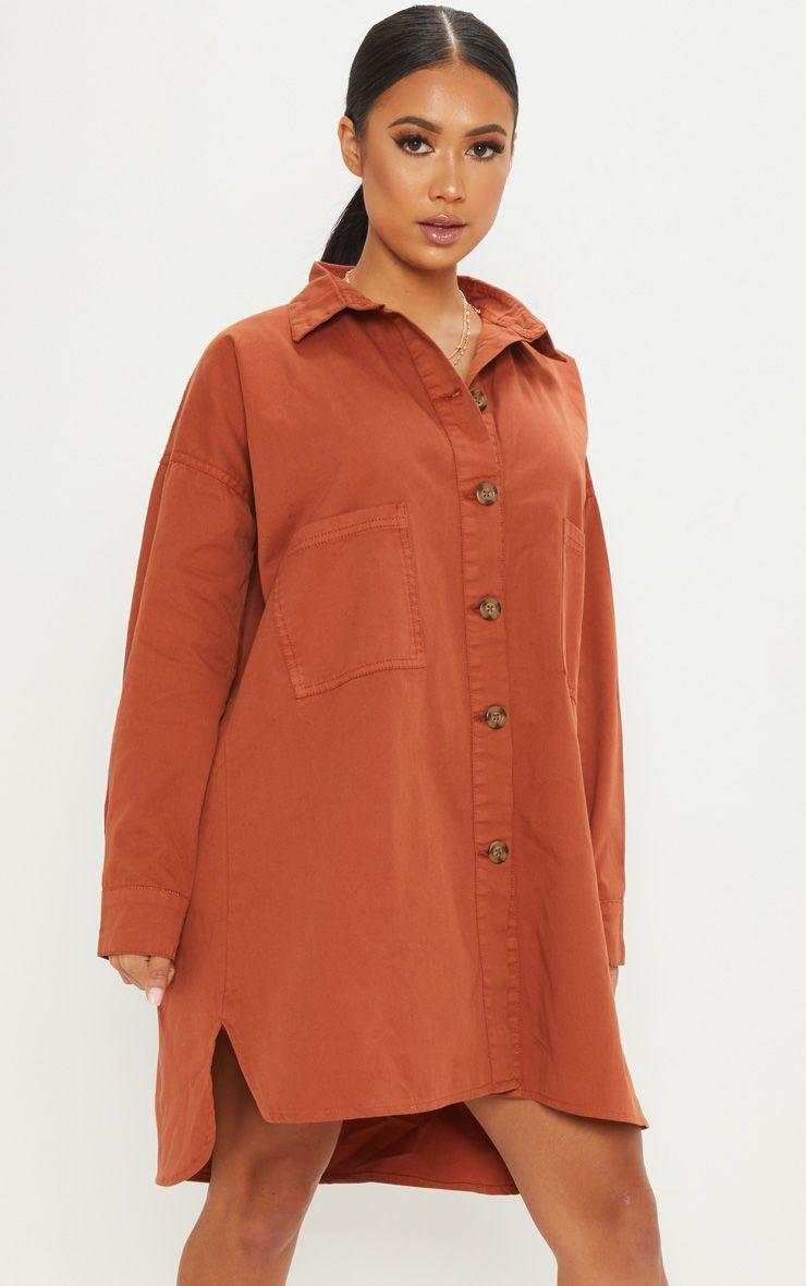 Petite Rust Tortoise Button Oversized Denim Shirt Dress 1