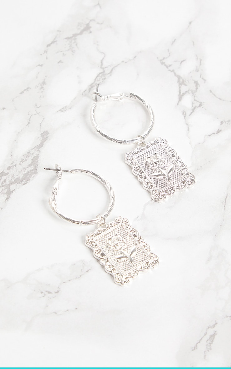 Silver Rose Square Pendant Hoop Earrings 3