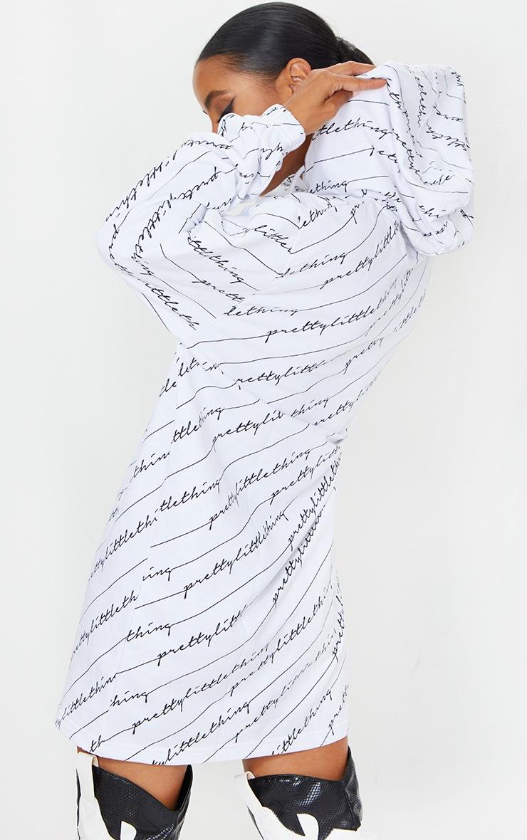 PRETTYLITTLETHING White Slogan Hoodie Dress 2