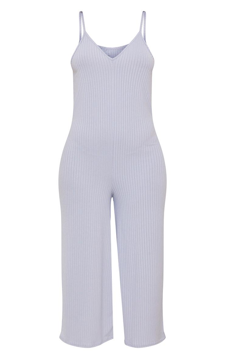 Grey Marl Ribbed V Neck Oversized Jumpsuit 5