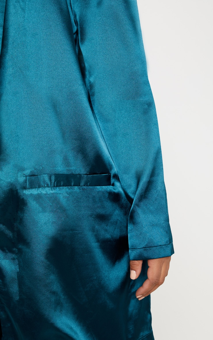 Plus Teal Satin Longline Blazer 5