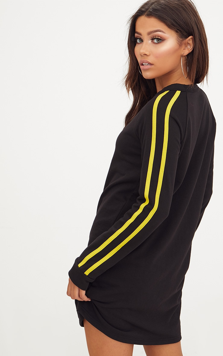 Black Contrast Stripe Sweater Dress  2