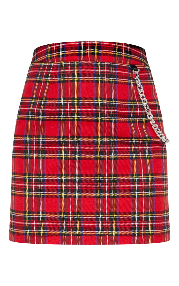 Red Tartan Check Chain Detail Mini Skirt 3
