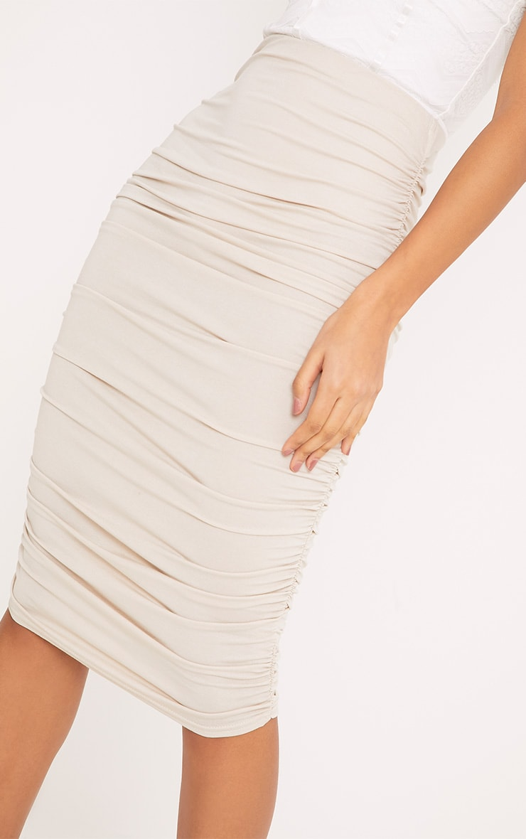 Stone Second Skin Ruched Side Midi Skirt 5