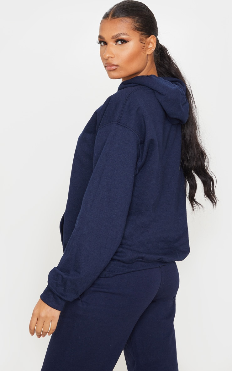 PRETTYLITTLETHING Navy Embroidered Oversized Hoodie 2