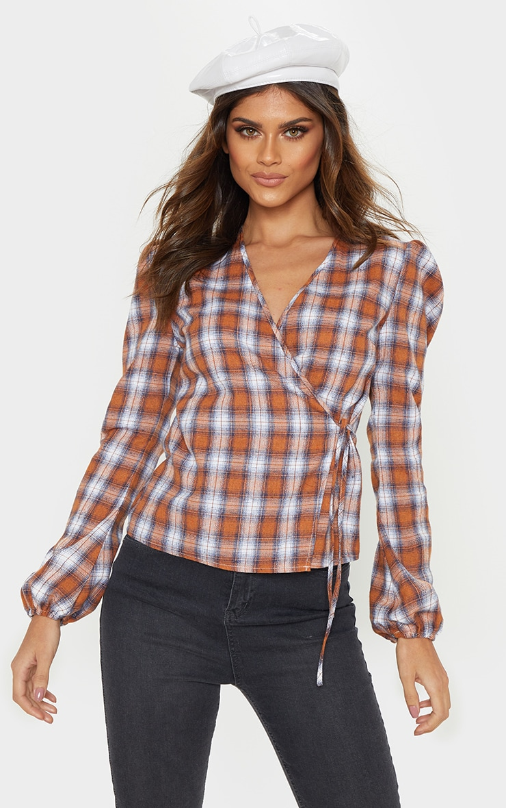 Brown Check Plunge Tie Side Long Sleeve Top 1