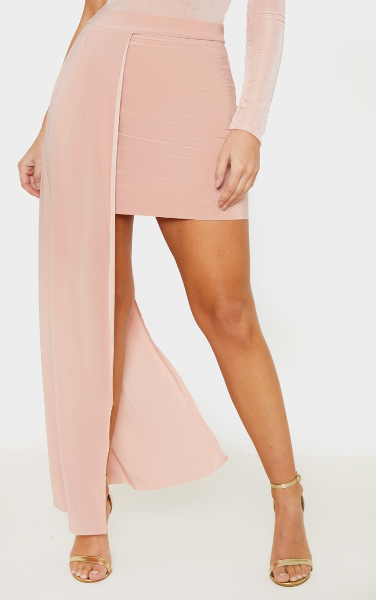 Dusty Pink Slinky Drape Detail Mini Skirt  2
