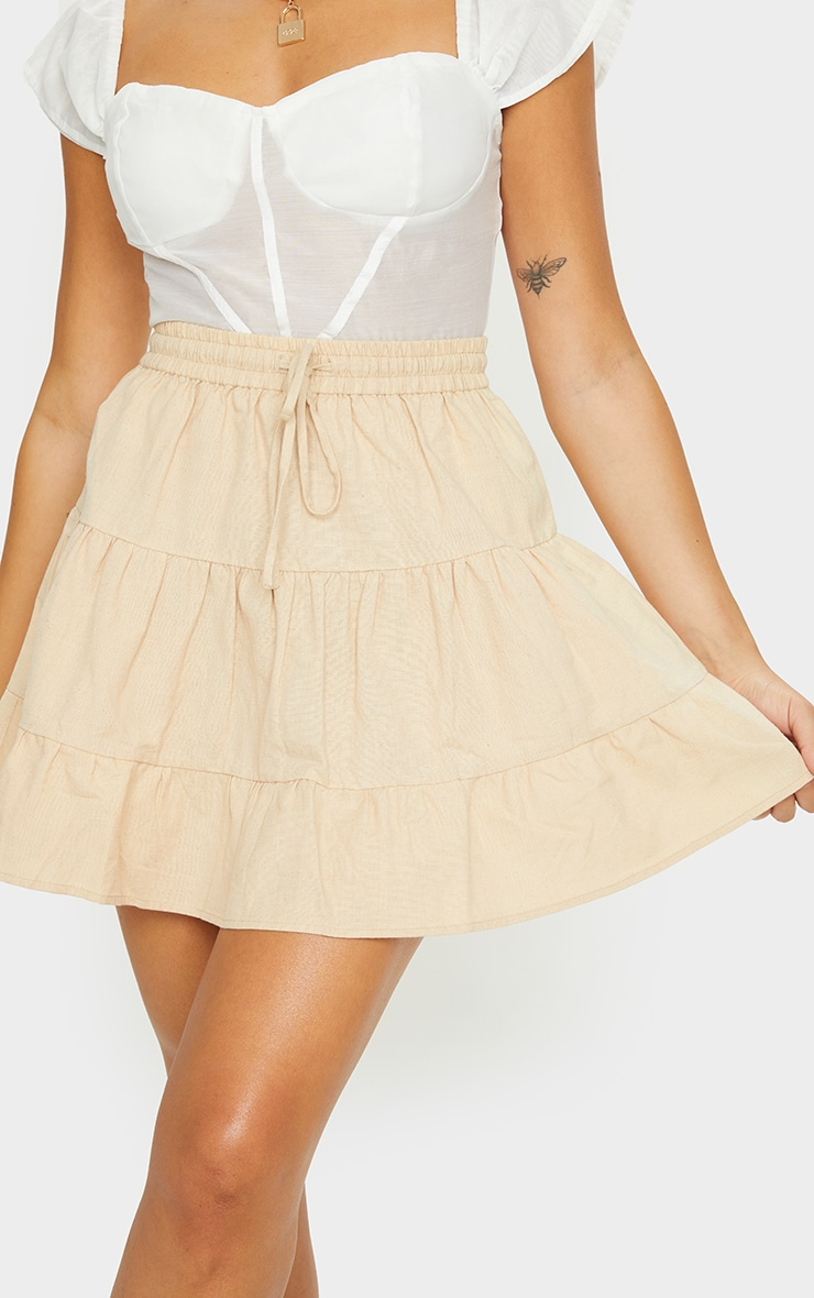 Stone Cotton Drawstring Tiered Skater Skirt 5