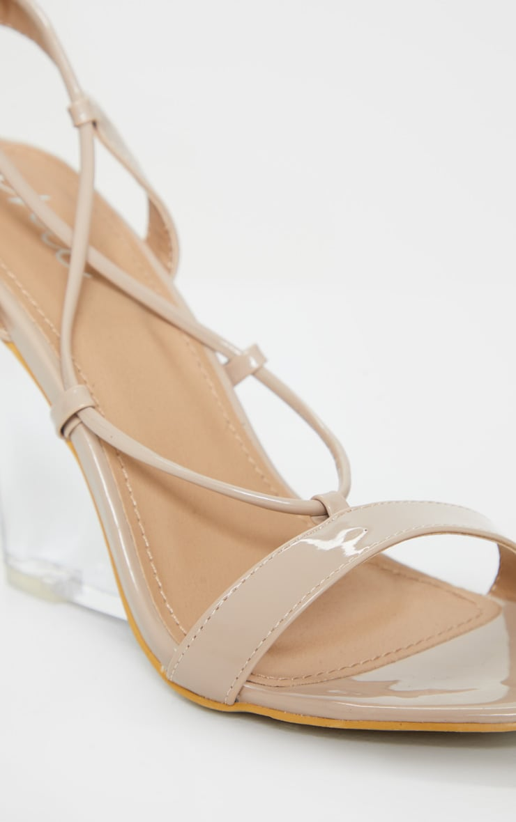 Nude Lace Up Clear Wedges 4