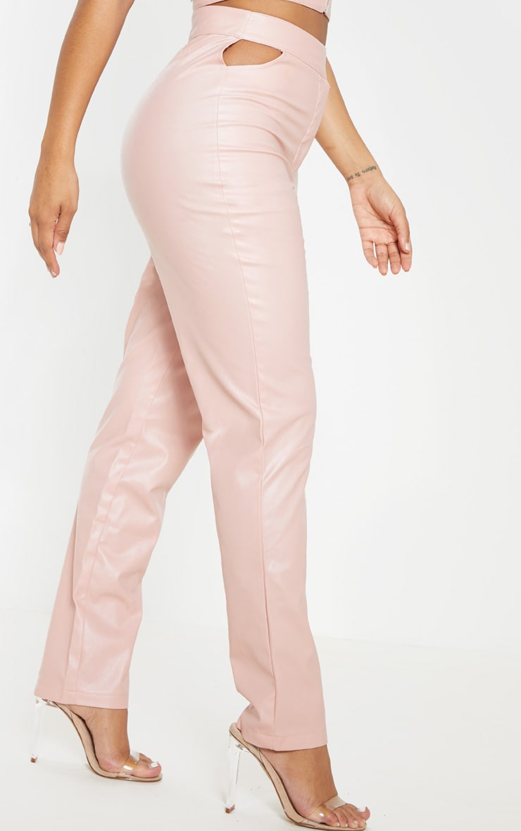 Shape Dusty Pink Faux Leather Cut Out Detail Straight Leg Pants  2