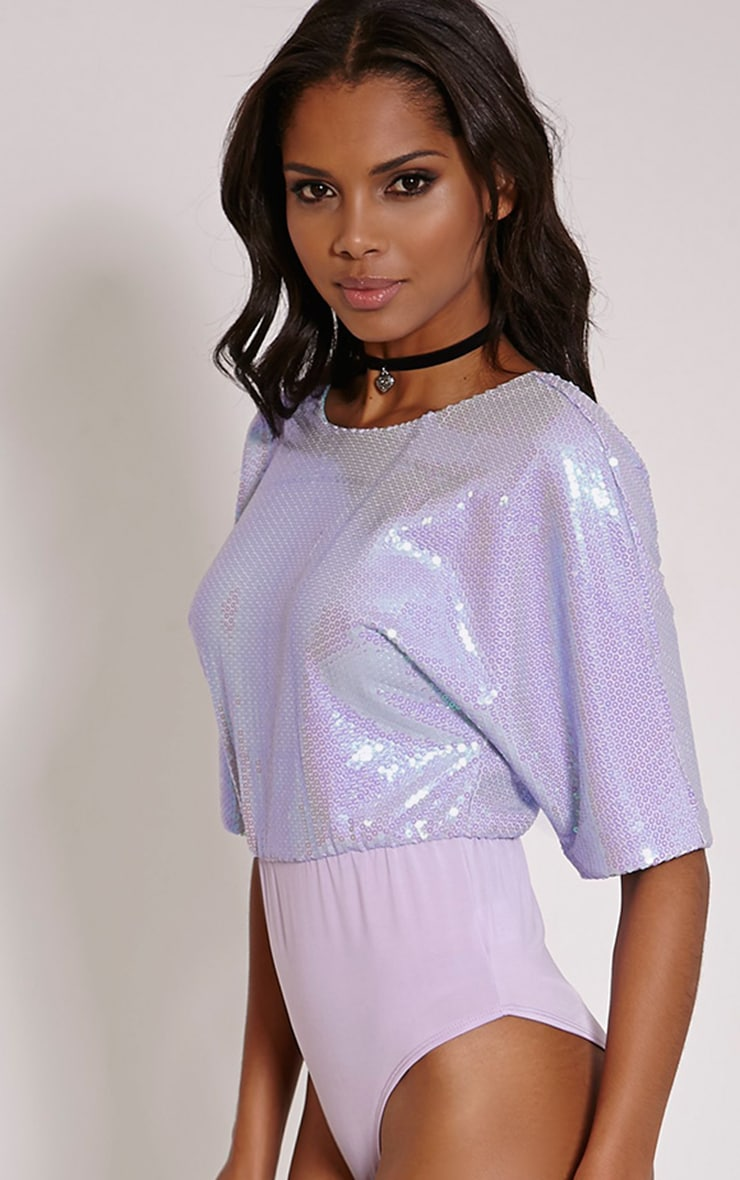 Monkih Lilac Sequin Low Back Bodysuit 1