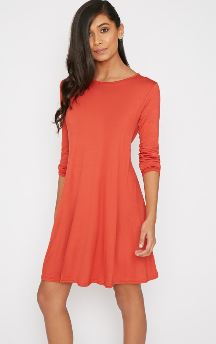 Rosie Burnt Orange Jersey Casual Swing Dress 1