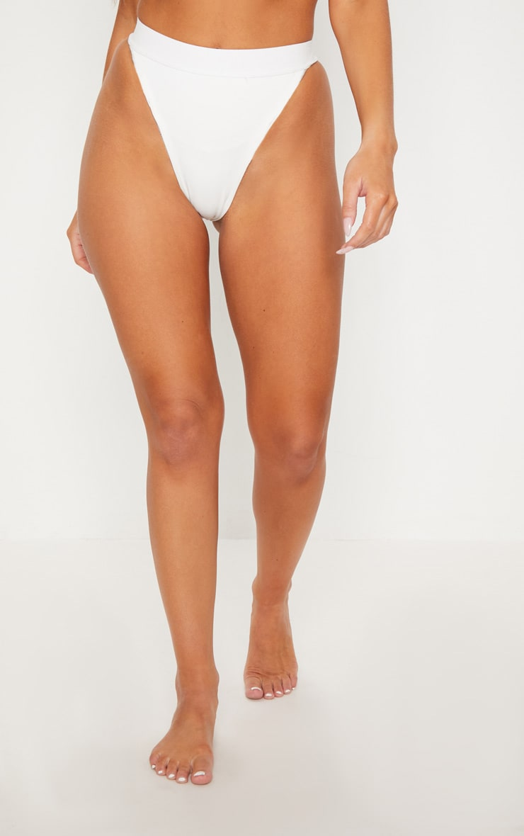 WHITE ELASTICATED HIGH LEG BIKINI BOTTOM