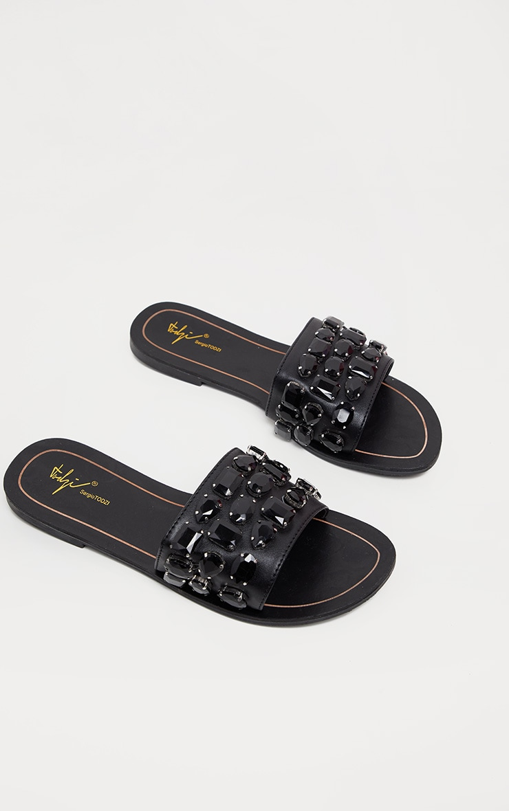 29440abd4120 Black Diamante Jewel Slider Sandal image 1