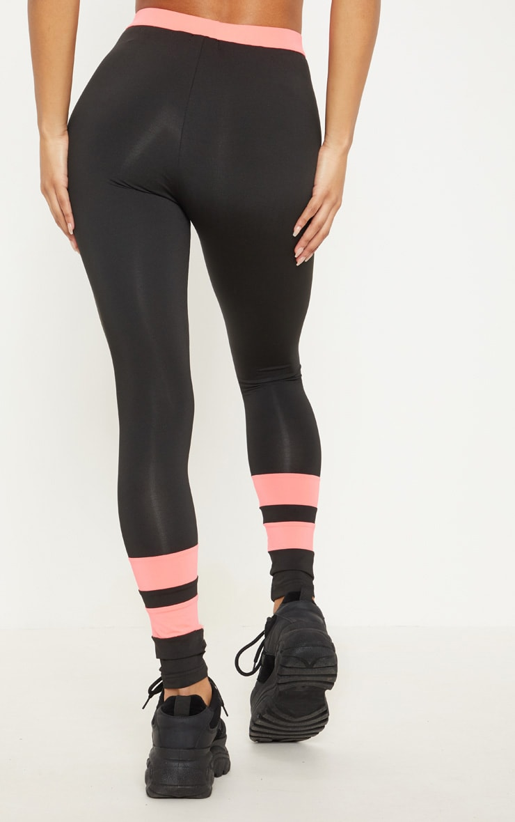Black And Pink Contrast Legging  4