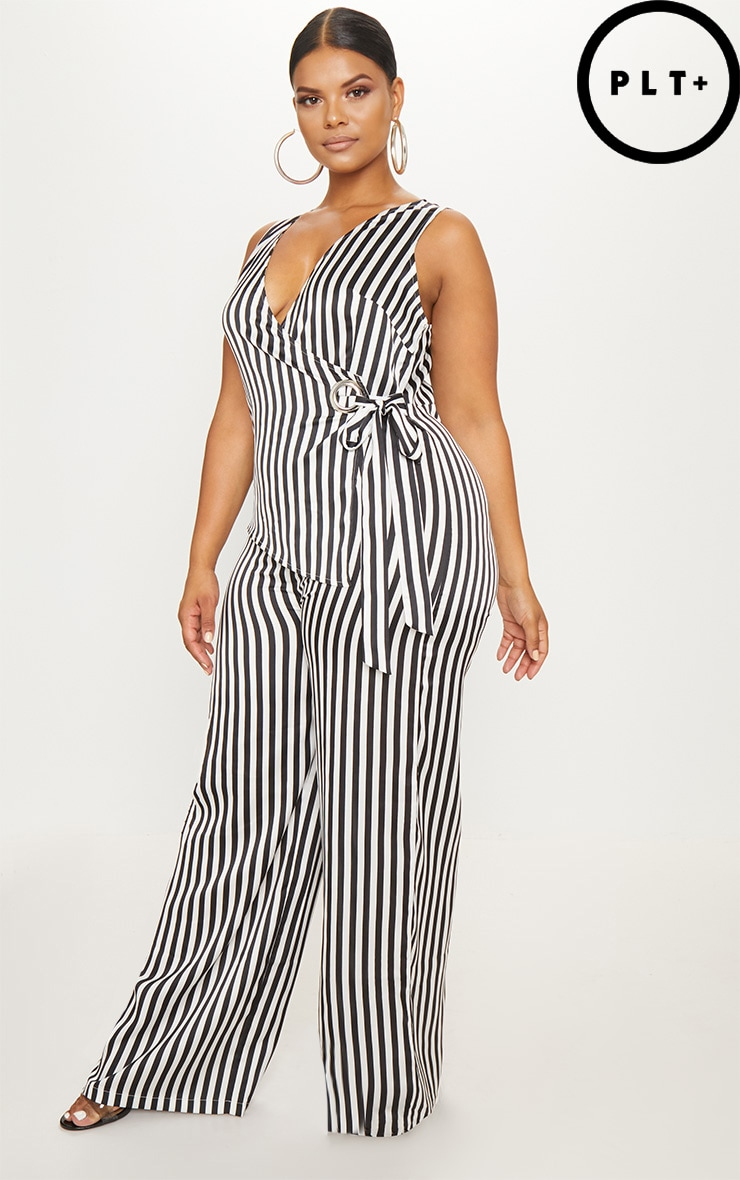 Plus Black Striped Wrap Wide Leg Jumpsuit