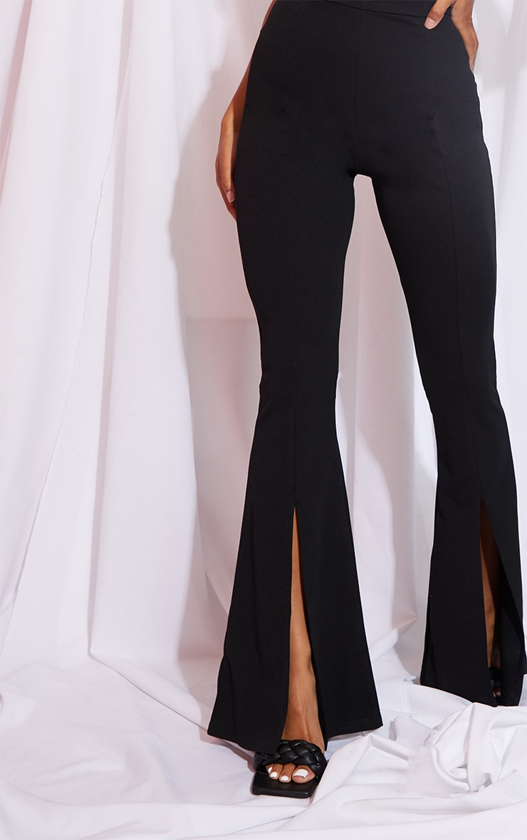 Black Split Hem Flared Trouser 4