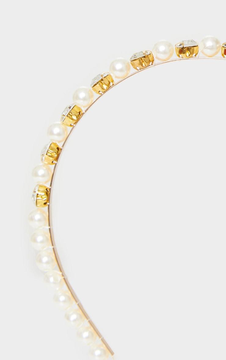 Gold Diamante White Pearls Headband 3
