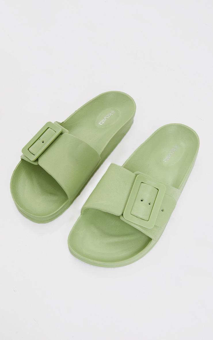 Sage Green Buckle Mule Sandals 1