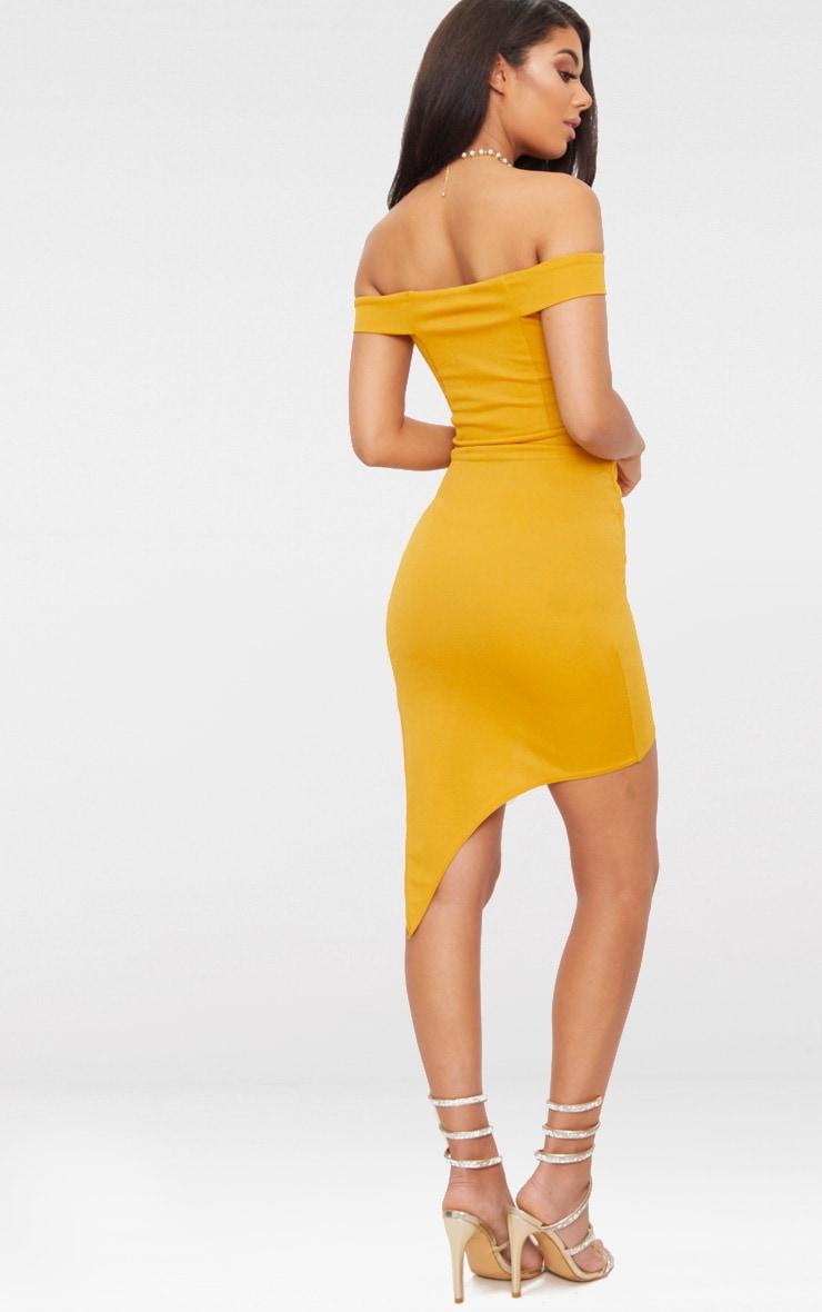Mustard Bardot Ruched Detail Asymmetric Hem Midi Dress 2