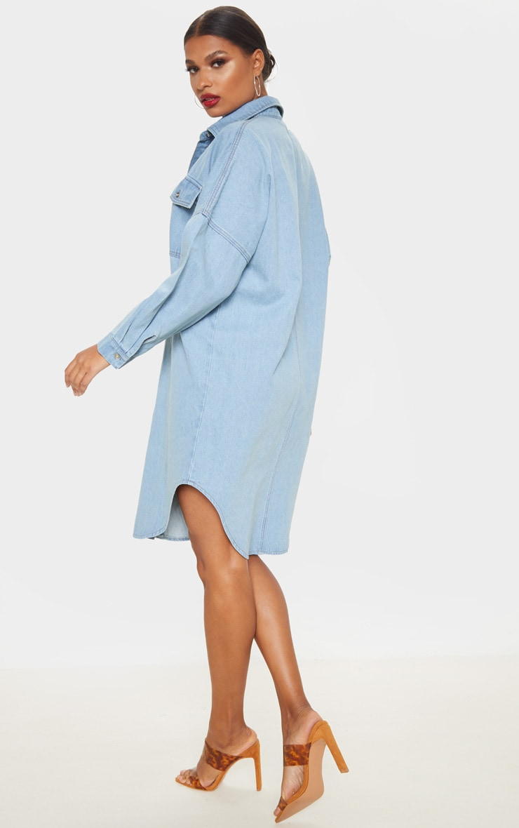 Light Wash Longline Oversized Denim Shirt Dress 2