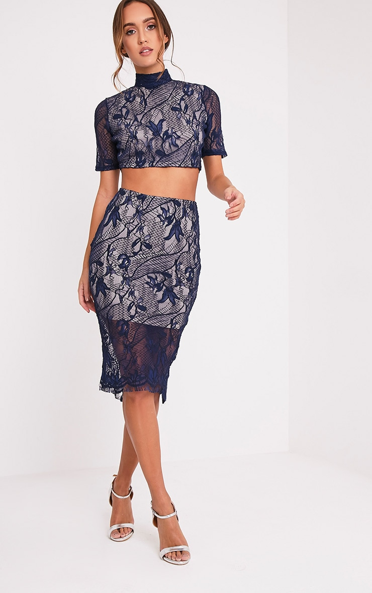 Leela Navy Lace Midi Skirt 1