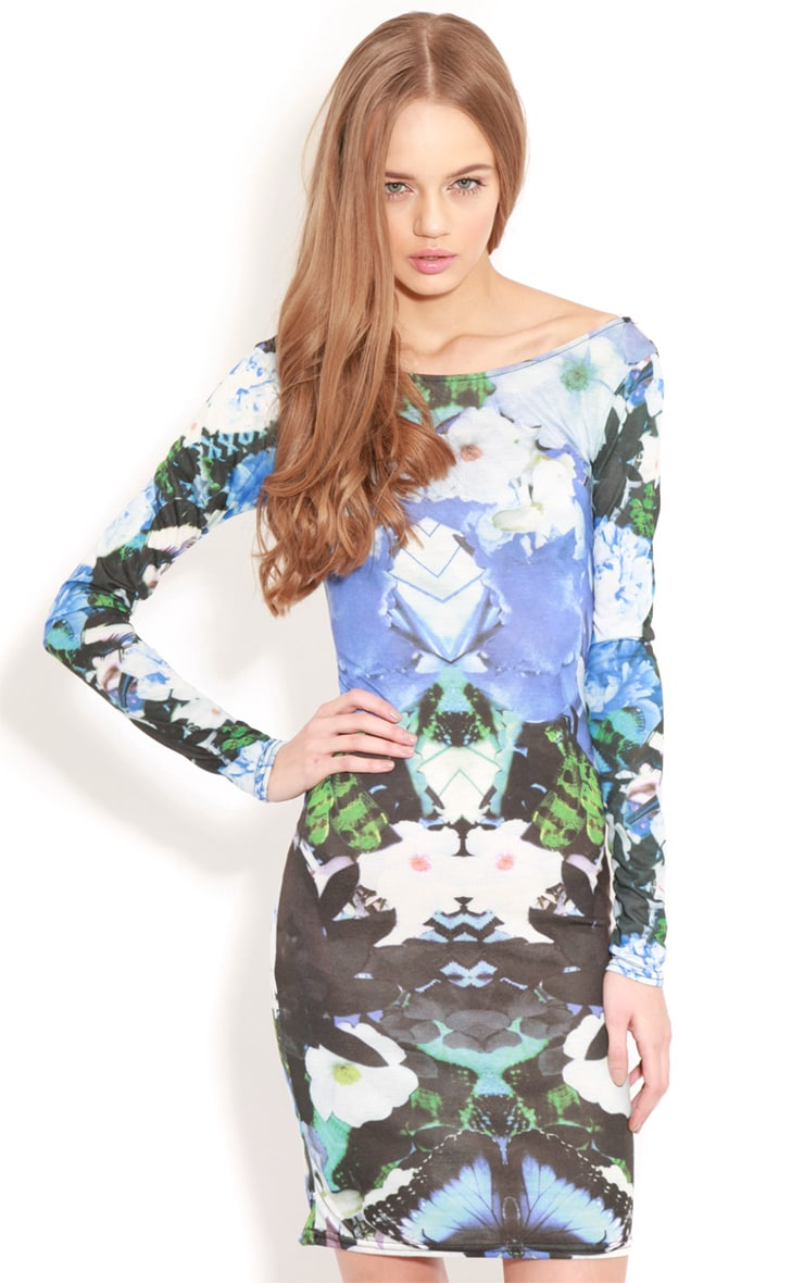 Cherise Blue Floral Long Sleeve Bodycon Dress 4
