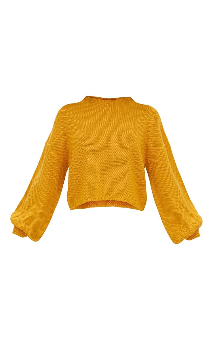 Mustard Balloon Sleeve Knitted Jumper 3