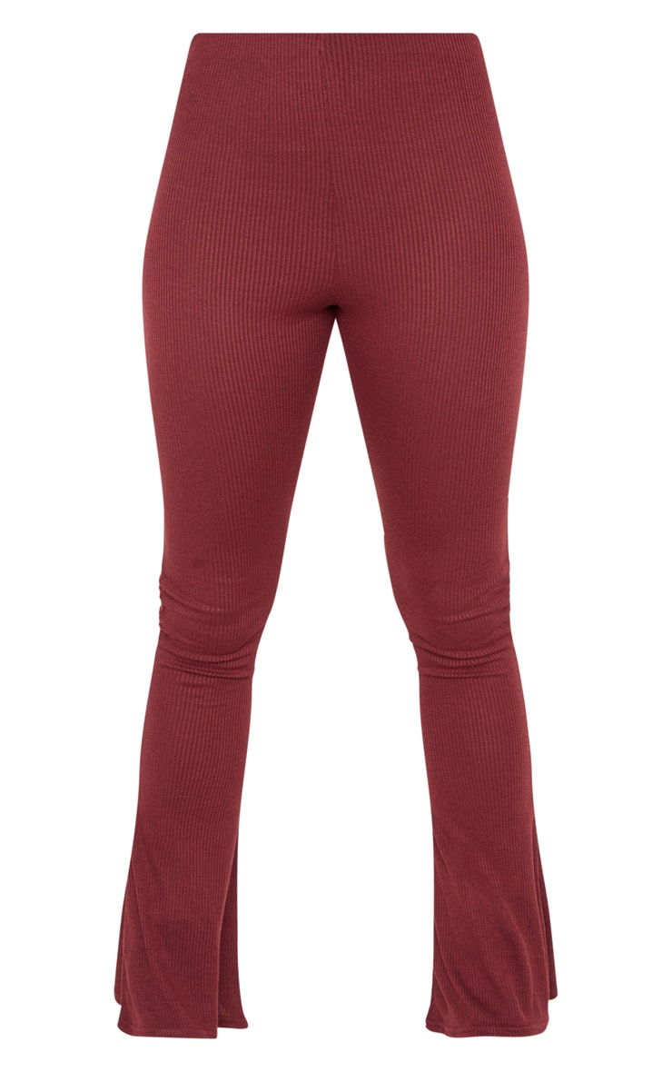 Tall Burgundy Ribbed Flared Trouser  3