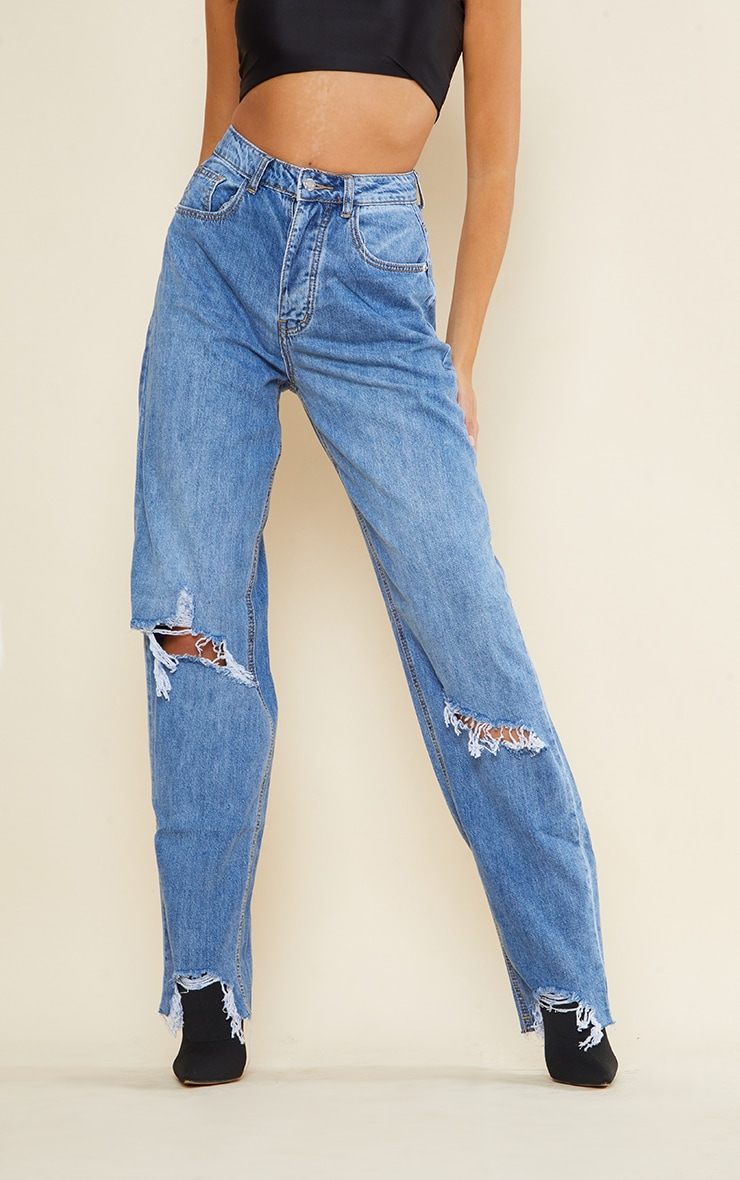 PRETTYLITTLETHING Tall Light Blue Wash Extreme Ripped Hem Boyfriend Denim Jeans 2