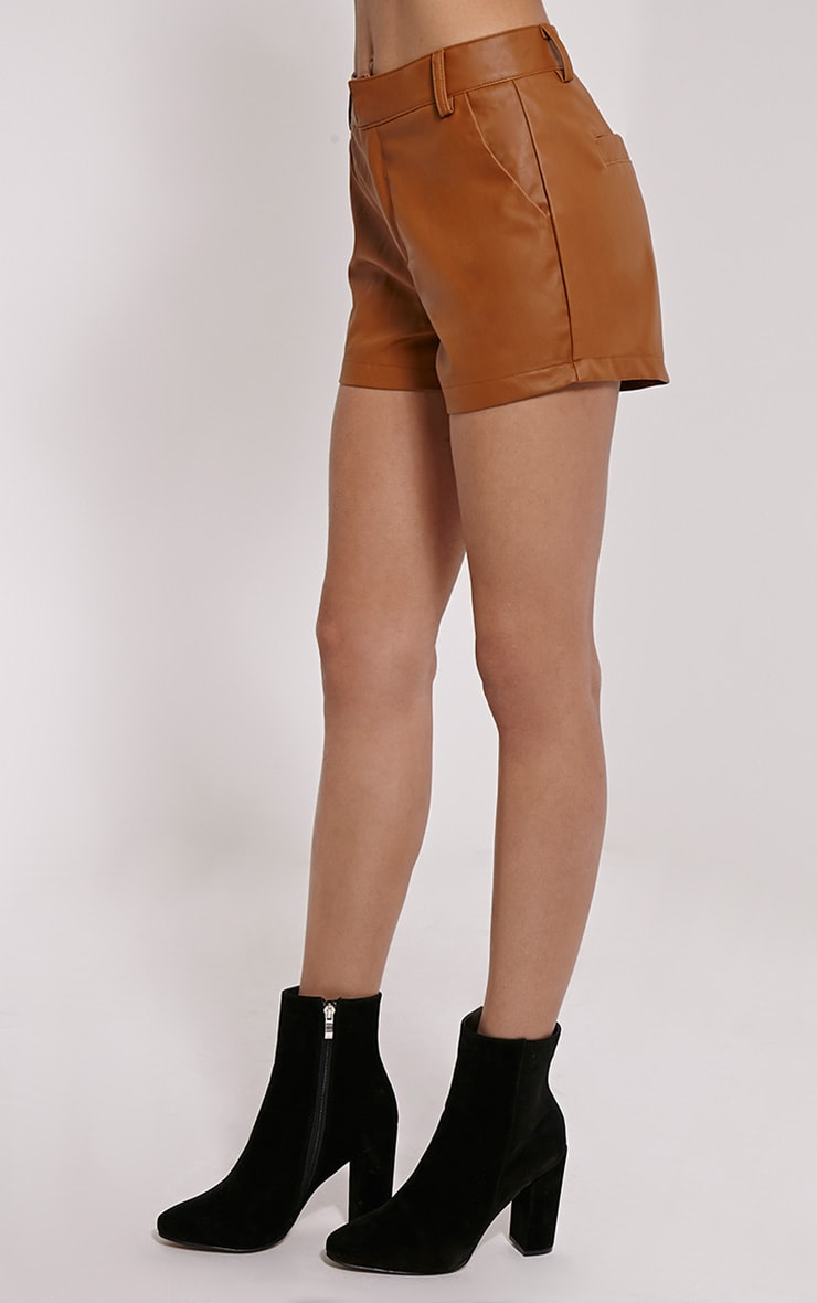 Pattie Tan Faux Leather Shorts 3