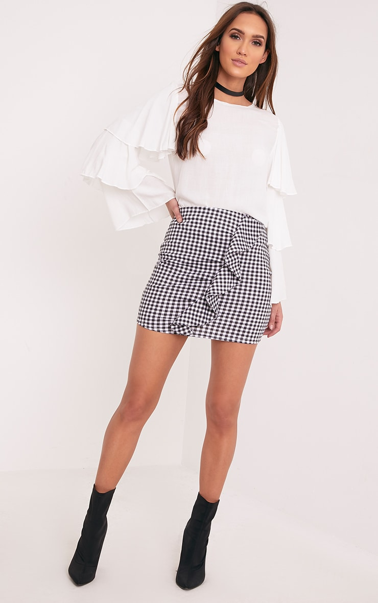 Kiana White Gingham Ruffle Mini Skirt  4