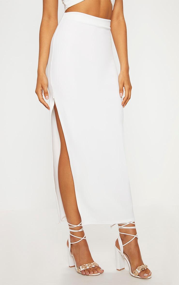 Cream Scuba Split Side Midaxi Skirt 2