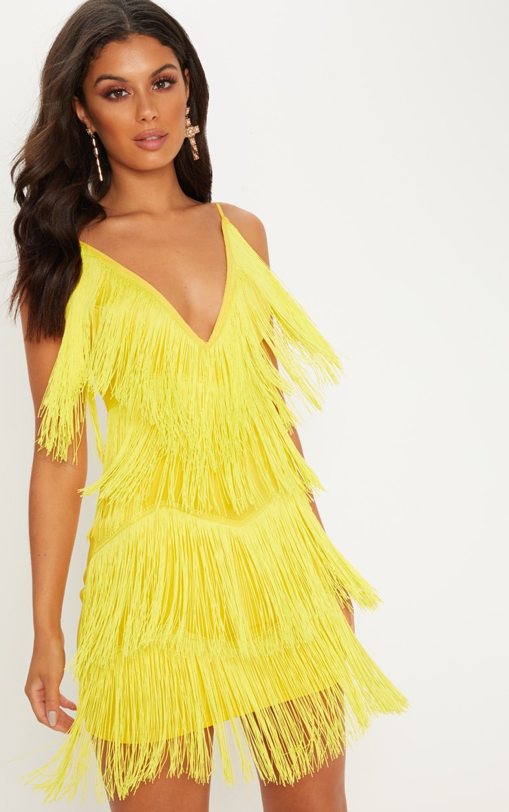 Yellow Strappy Plunge Tassel Bodycon Dress