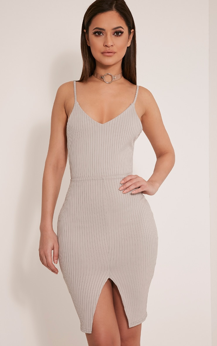 Nayna Grey Ribbed Cross Back Bodycon Dress 1