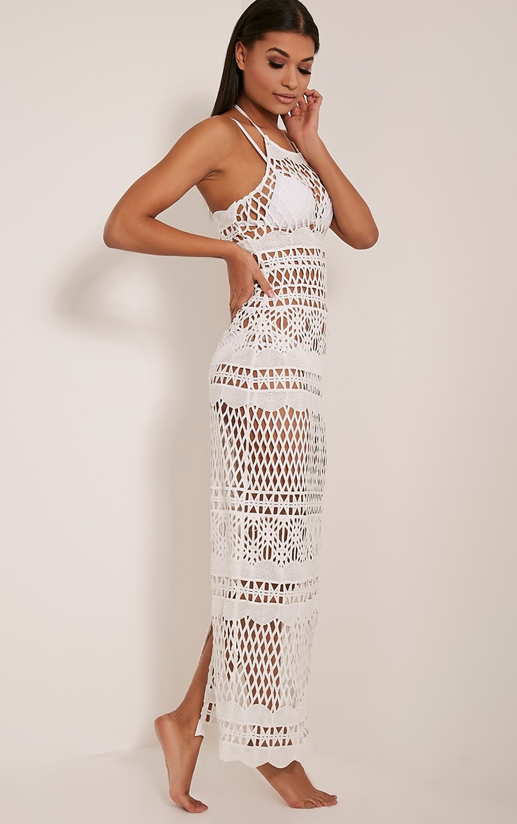 Alaya White Crochet Maxi Dress 3