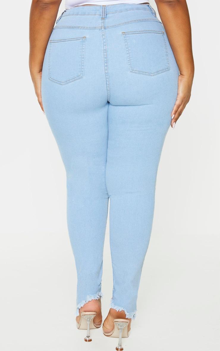 Plus Light Wash Denim Fray Hem Skinny Jeans 4